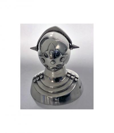 Antique Silver Novelty Pepper Caster of a Knight in Armour Chester 1908 by G U
