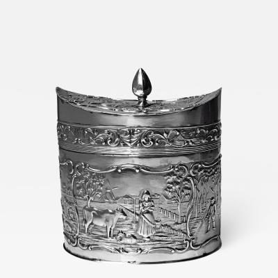 Antique Silver Tea Caddy H Hooykaas Dutch C 1900