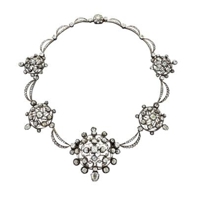 Antique Silver Topped Diamond Necklace