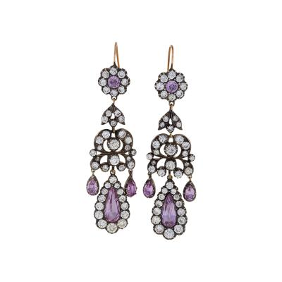 Antique Silver topped Earrings with Diamonds and Pink Topaz