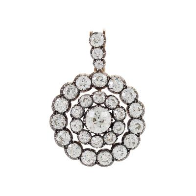 Antique Silver topped Gold and Diamond Pendant