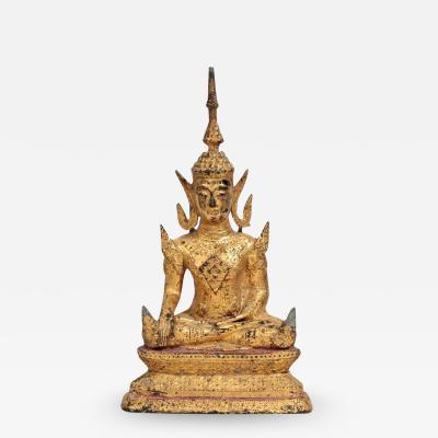 Antique Southeast Asian Gilt Metal Seated Buddha