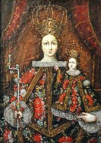 Antique Spanish Colonial Painting of The Virgin of Candelaria Cuzco School