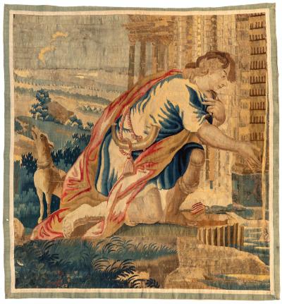 Antique Square 16th Century Gold Brown Flemish Renaissance Tapestry Nobleman