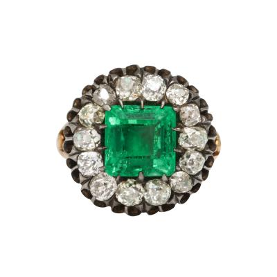 Antique Square Cut Emerald and Old Mine Diamond Ring GIA Certified