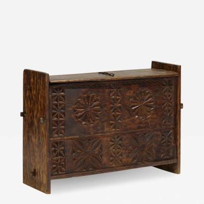 Antique Star Anise Hand Carved Dowry Textile Chest Nuristan Afghanistan