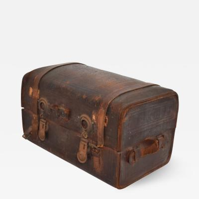 Antique Steamer Dome Trunk Distressed Leather Travel Case by S Dennin New York