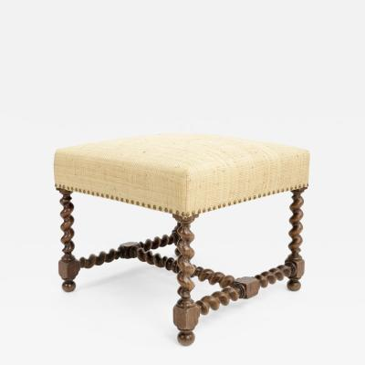 Antique Stool with Twisted Wood Stretchers
