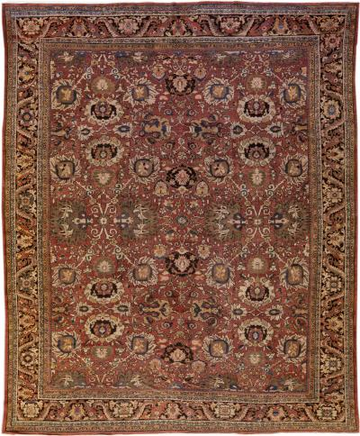 Antique Sultanabad Handmade Floral Red Oversize Wool Rug