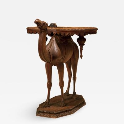 Antique Superbly Carved Walnut Wood Camel Table Circa 1880