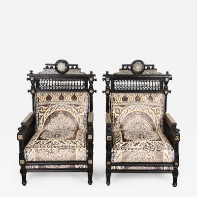 Antique Syrian Moorish Style Black Armchairs