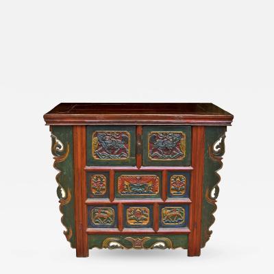 Antique Tibetan Deep Chest Hand Painted