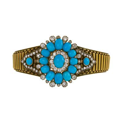Antique Turquoise Diamond and Gold Bracelet Pendant