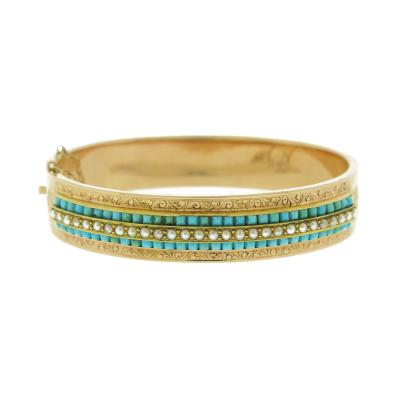 Antique Turquoise and Pearl Gold Bangle