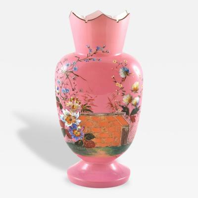 Antique Vase Pink Over White Glass Painted Flowers France 19th Century Opaline