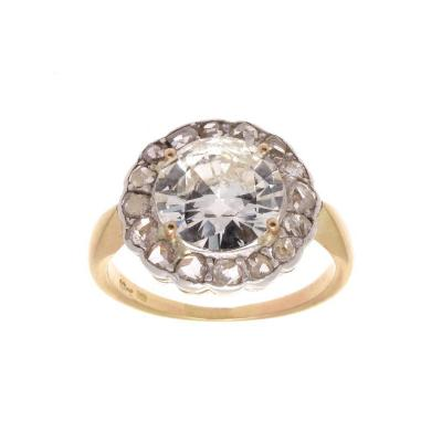 Antique Victorian 3 01 Carat Round Brilliant Cut Diamond Gold Platinum Ring