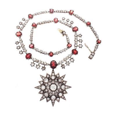 Antique Victorian Diamond Garnet Star Necklace