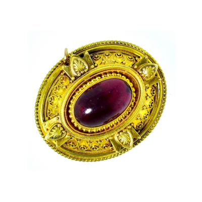 Antique Victorian Garnet Brooch circa 1880