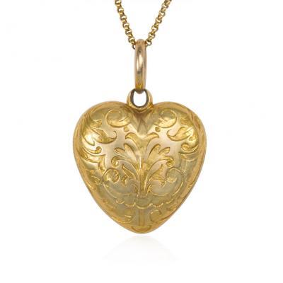 Antique Victorian Gold and Black Enamel Heart Locket Pendant