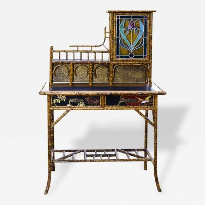 Antique Victorian Scorched Writing Desk with Stain Glass Door English 1880s