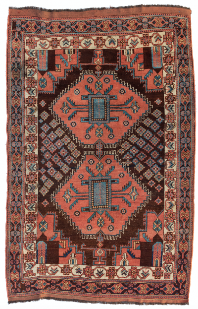 Antique Vintage Rose Brown Blue Tribal Persian Afshar Area Rug circa 1900 1910
