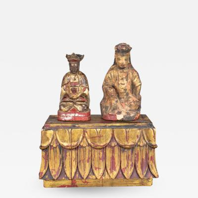 Antique buddha pair stand hand carved wood hand painted red gilded