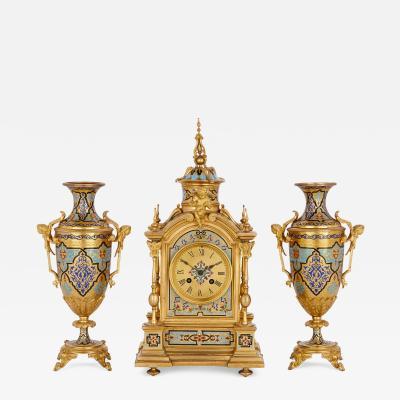 Antique gilt bronze and champlev enamel clock set