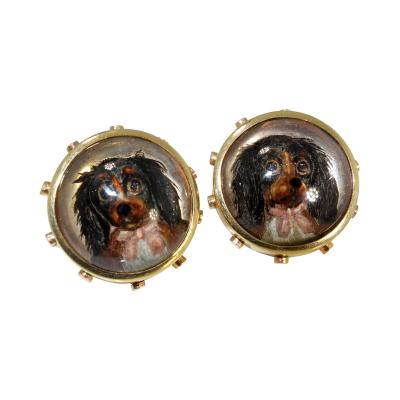Antique gold reverse painting on crystal cuff links