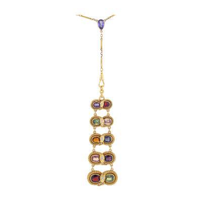Antique multi stone snake necklace
