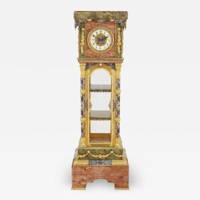Antique onyx marble gilt bronze and cloisonn enamel longcase clock