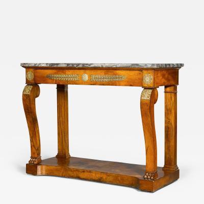 Antique ormolu mounted mahogany Empire period console table