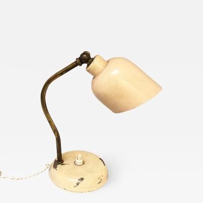 Antique pink metal and brass table lamp 1950s
