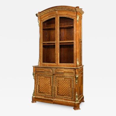 Antique tulipwood bureau bookcase