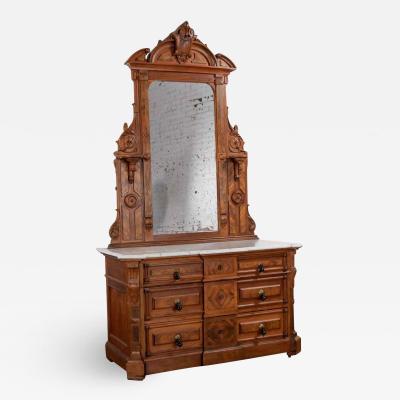 Antique victorian mirrored dresser in walnut burl walnut with white marble top