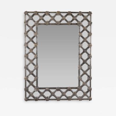 Antiqued Barovier Style Lattice Mirror Contemporary