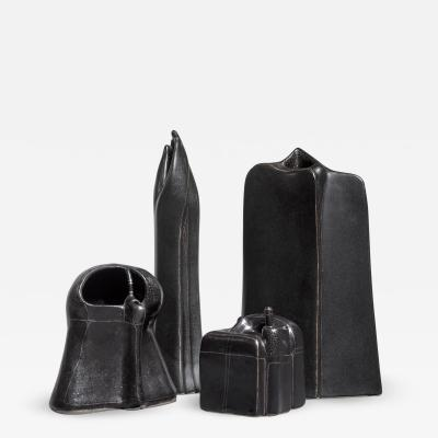 Antje Schimpfle Antje Schimpfle set of four sculptural ceramic vases Germany 1980s