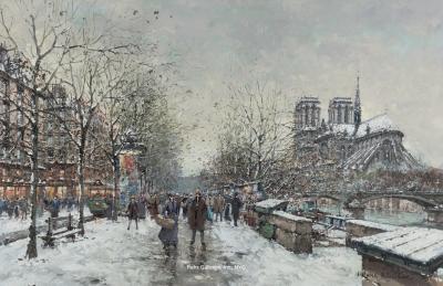 Antoine Blanchard Winter in Paris Notre Dame