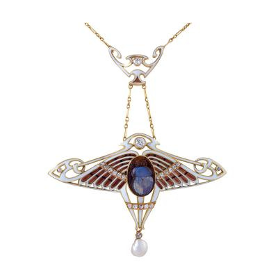 Antoine Bricteux Art Nouveau Necklace with Opal Scarab by Antoine Bricteux