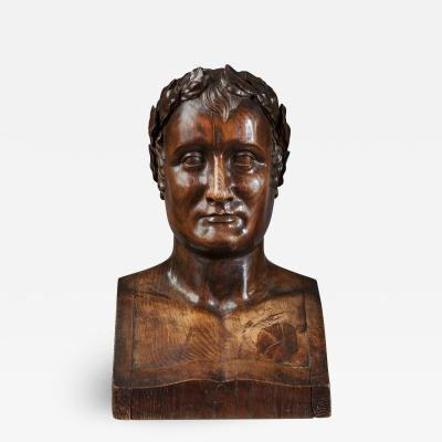 Antoine Denis Chaudet Sculptured Wood Bust of Emperor Napoleon 1