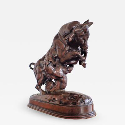 Antoine Louis Barye Powerful Bronze Statue Of A Bull Attacked By A Tiger By Antoine Louis Barye