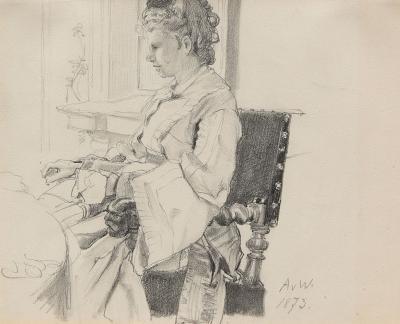 Anton Alexander von Werner Portrait of the Artist s Wife Malvina