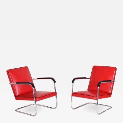 Anton Lorenz 20th century Art Deco German Pair of armchairs