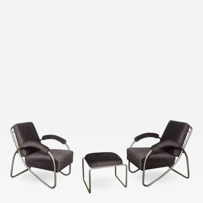 Anton Lorenz Anton Lorenz Thonet Tubular Steel Lounge Chairs and Ottoman