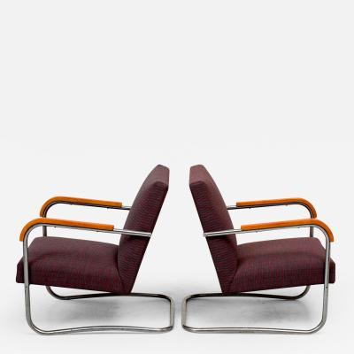 Anton Lorenz Pair of Lounge Chairs by Anton Lorenz for Thonet 1930s