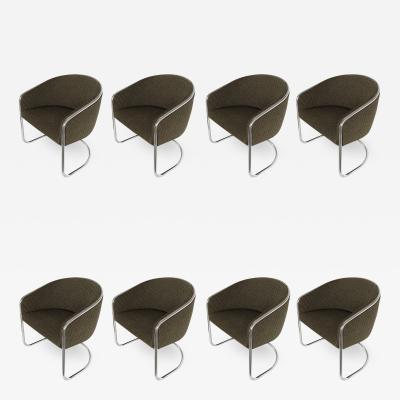 Anton Lorenz Set of 8 Tub Dining Chairs by Joan Burgasser Anton Lorenz for Thonet