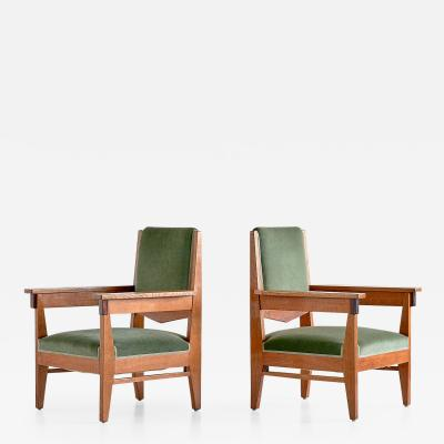 Anton Lucas Pair of Anton Lucas Art Deco Armchairs in Oak and Macassar Ebony 1925