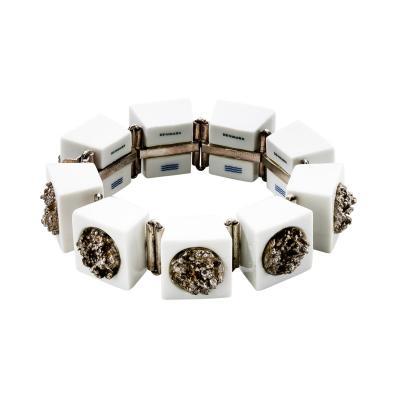 Anton Michelsen Anton Michelsen White Royal Copenhagen Porcelain with Sterling Silver Bracelet