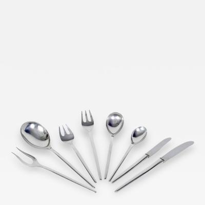 Anton Michelsen Sterling Silver Danish 74 Piece Tulip Flatware Set by Anton Michelsen Denmark