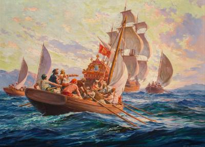 Anton Otto Fischer Pirates Giving Chase