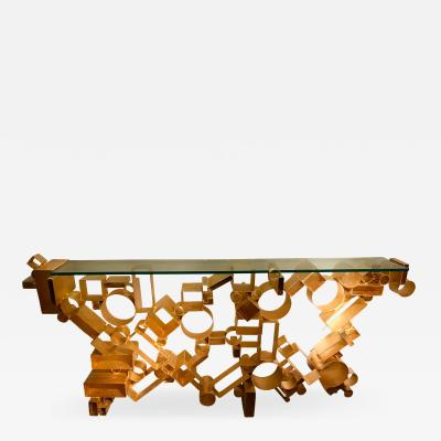 Antonio Cagianelli Contemporary Console Iron Gold Leaf by Antonio Cagianelli Italy 2018